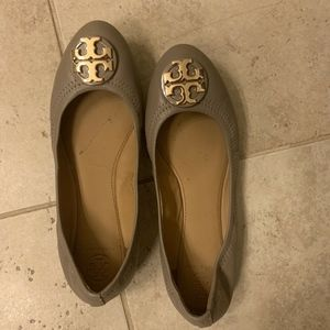 Tory Burch Claire Ballet Flats French Grey Size 8